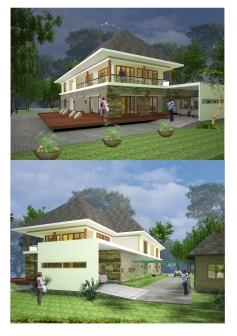 Villa tropis modern 2 lantai